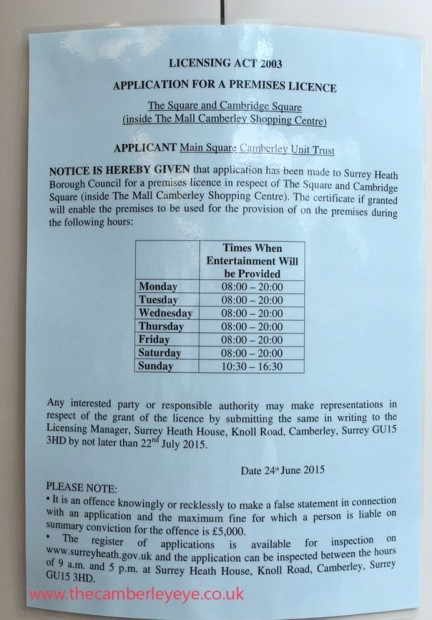 Mall licence notice