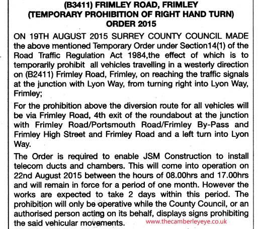 Frimley Road traffic restrictionb