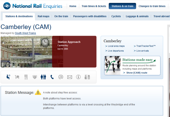Nat Rail re Camberley Station
