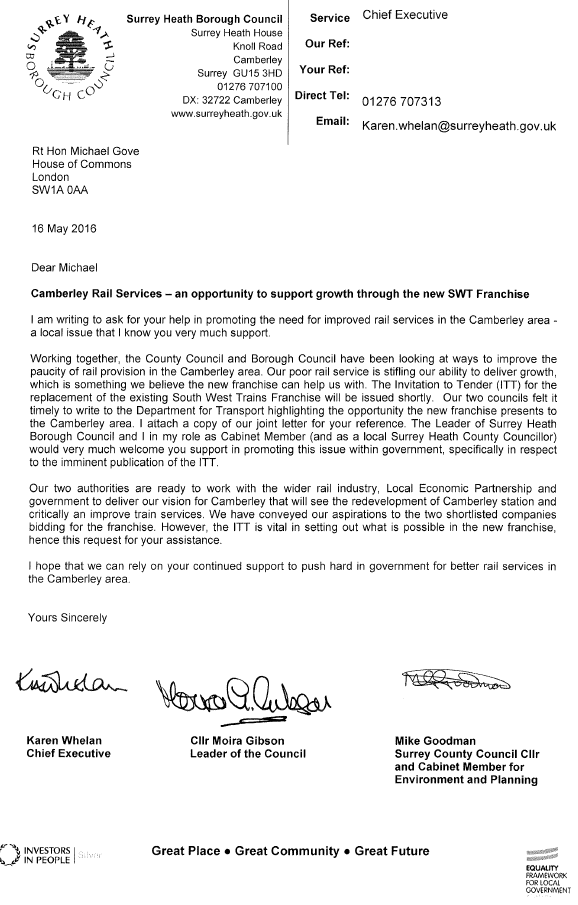 SHBC letter to Gove re trains
